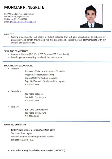 format cv in english 51 teacher resume templates free sle exle format