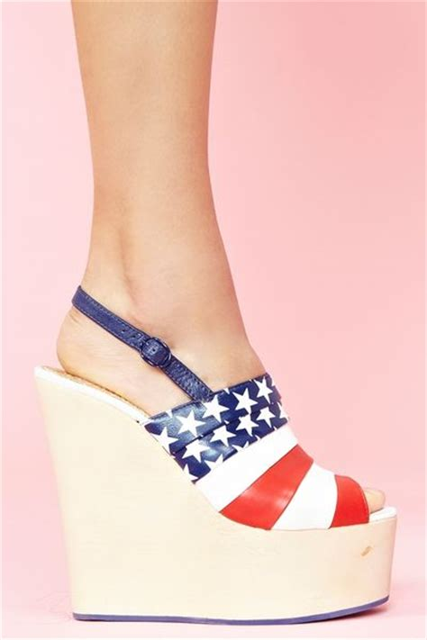 nasty gal chica chola platform wedge american flag  multicolor blue lyst