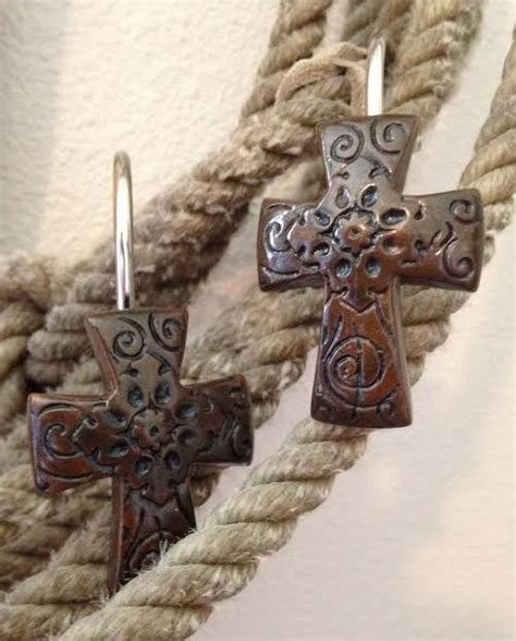 western shower curtain hooks tooled cross shower curtain hooks clearance 1 set left