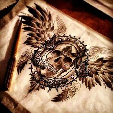 skull with wings tattoo amazing shaded winged skull talent