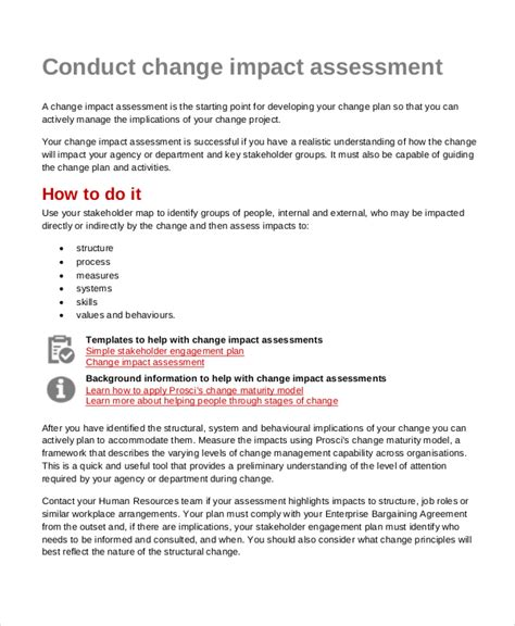 Impact Assessment Template by Impact Assessment Template 6 Free Word Pdf Documents
