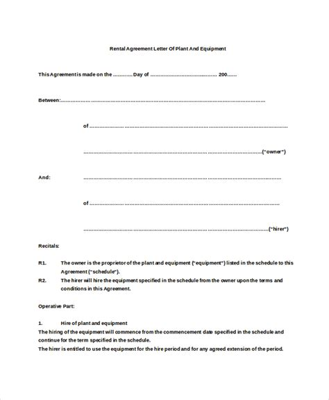 Letter Of Agreement To Rent 11 Rental Agreement Letter Templates Free Sle