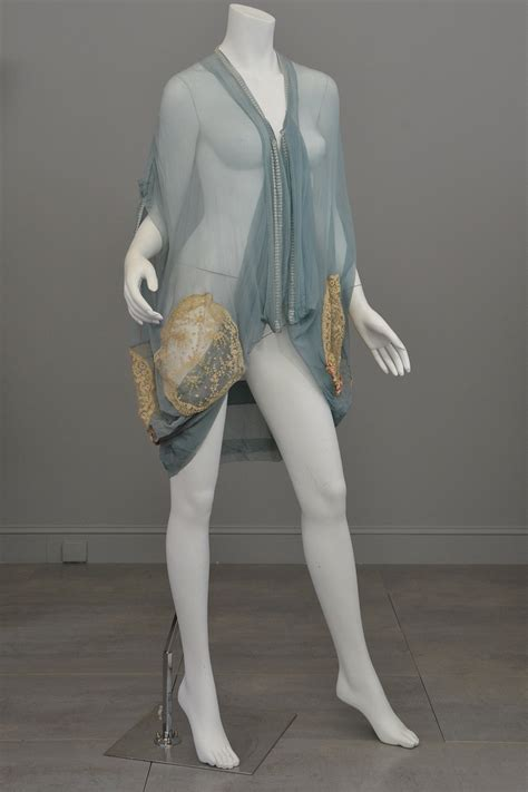 Sheer Silk Madness by 1920s Deco Aqua Blue Sheer Silk Cocoon Duster Vest With