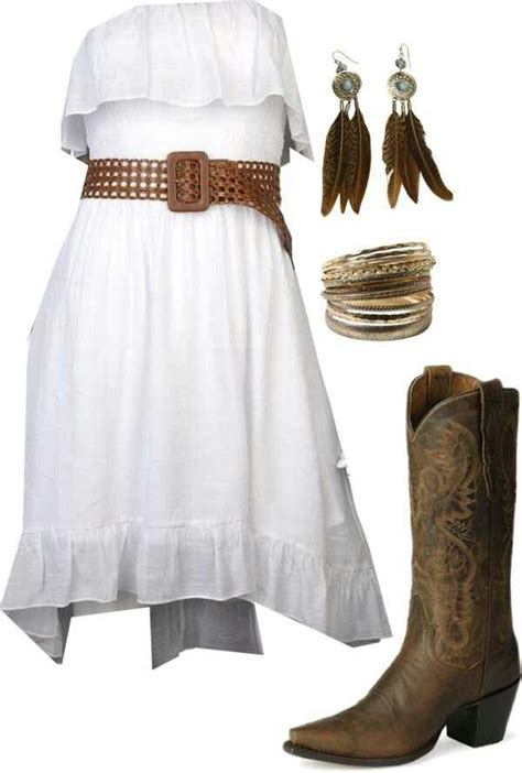 white strapless dress brown belt feather earrings gold