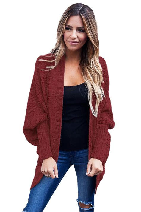 Sweater Cardigans 11 us 11 16 burgundy ribbed cuffs dolman sleeved cardigan dropshipping