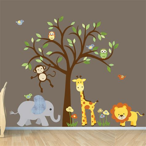 Baby Animal Wall Stickers Gender Neutral Wall Decal Safari Wall Decal Tree Wall Decal