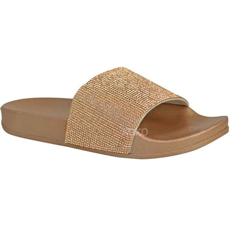 comfy slippers womens new womens diamante comfy sliders flat shoes