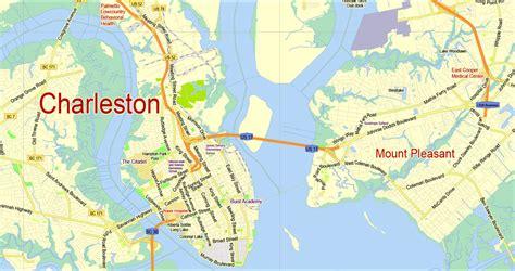 charleston carolina map maps update 7001060 charleston tourist map 14 toprated