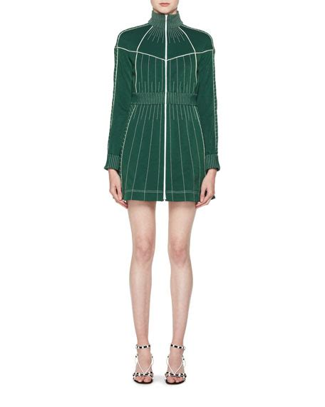 Contrast Sleeve Fitted Dress valentino sleeve zip front fitted dress with