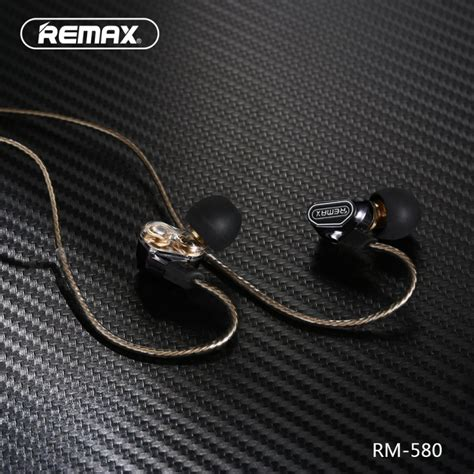 remax rm 580 in ear 3 5mm dual moving coil earphone