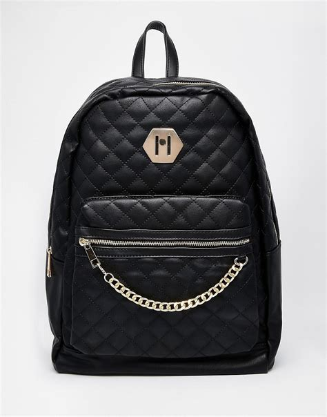 aldo aldo quilted backpack with chain detail at asos