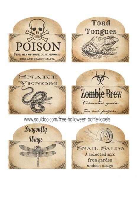Printable Halloween Labels For Bottles   free printable halloween bottle labels potion labels