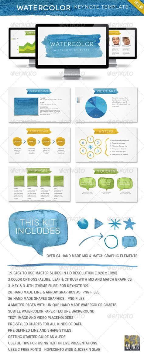 keynote show template watercolor keynote template graphicriver