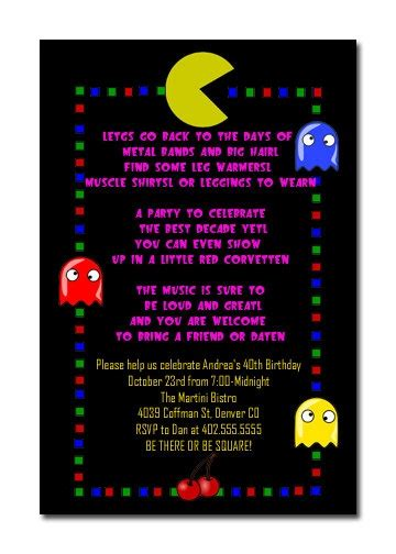 Retro 80 S Themed Pac Man Birthday Party By Atimeandplacedesign 12 00 Retro Arcade Birthday Pac Birthday Invitation Template