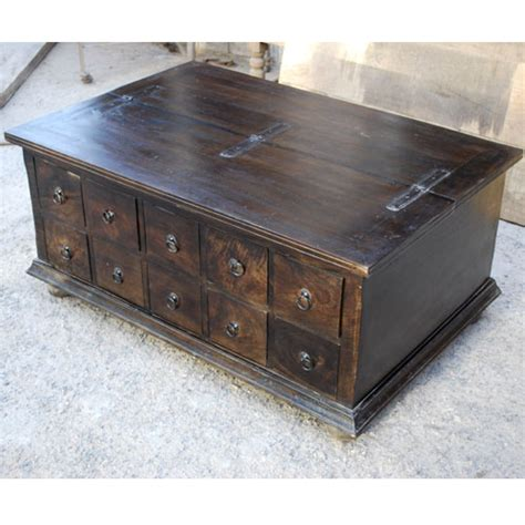 unique pillbox storage box trunk living room coffee table