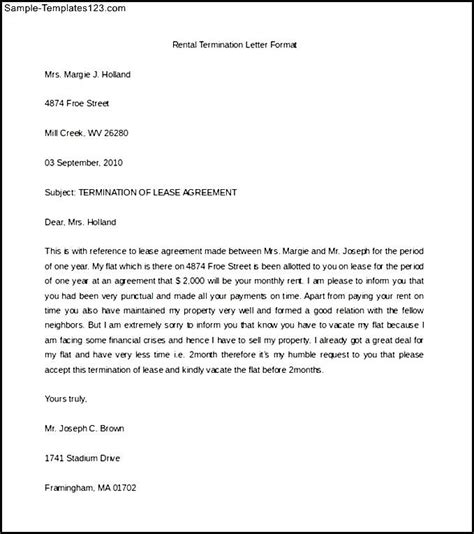 Letter For Rent House Rental Termination Letter Format Word Doc Sle Templates