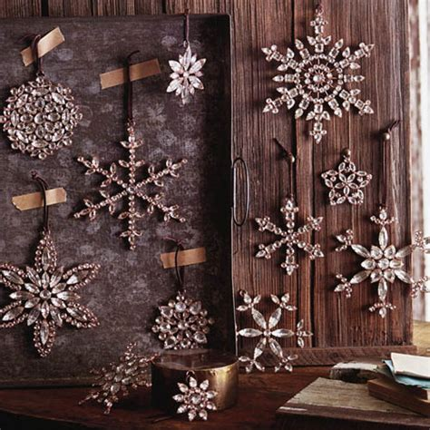 Victorian Rhinestone Snowflake Tree Ornaments. Set/4