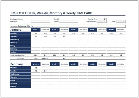 yearly time card template daily weekly monthly time cards for employees word