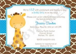 giraffe baby shower invitation baby sprinkle by jcbabycakes