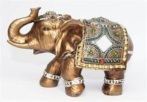 Home Decor Figurines Feng Shui Elephant Trunk Statue Lucky Wealth