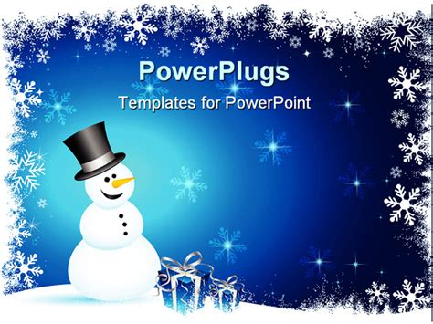 Snowman Powerpoint Template powerpoint template winter theme with happy smiling snowman and blue gift boxes with silver