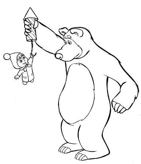 tales coloring masha   bear russian fairy tale