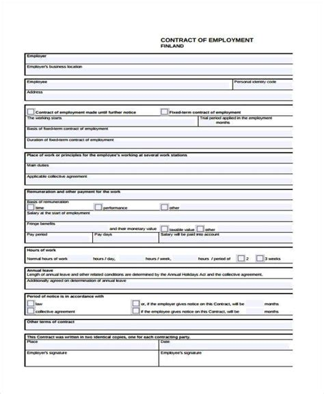 employment contract form employment form templates