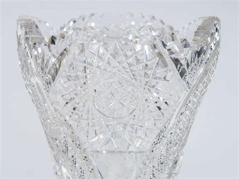 American Brilliant Cut Glass Vase by American Brilliant Period Heavy Monumental Cut