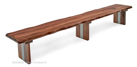 slab wood bench modern wood bench with live edge walnut slab custom made