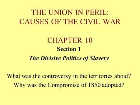 how did slavery cause the divisions of sectionalism the american pageant chapter 16 the south and the slavery