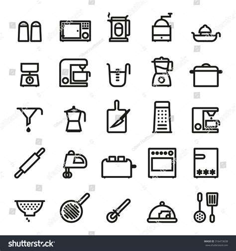 kitchen utensils and appliances kitchen utensils and cooking appliances black line icons