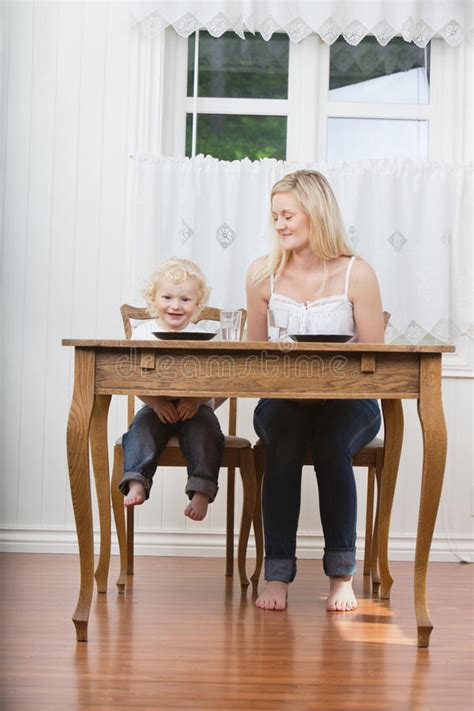 Baby Dining Table And Baby At Dining Table Stock Image Image Of Family 21082589