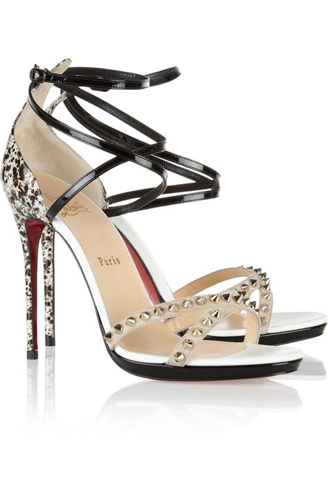 christian louboutin sandals christian louboutin monocronana 120 studded patentleather