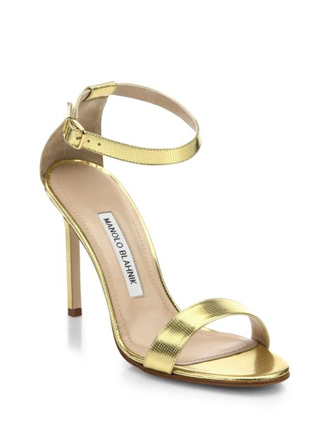 manolo blahnik sandals manolo blahnik chaos metallic leather ankle sandals