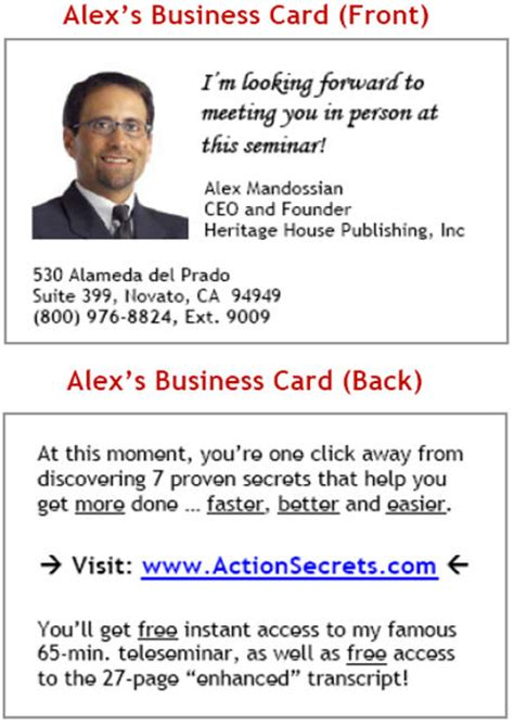 Personal Business Cards Networking Mba by The Seminar Business Card Design Revealed Alex