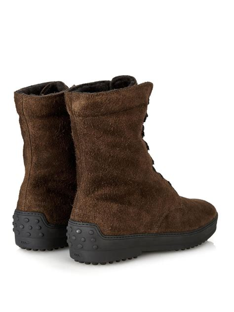 tod s shearling lined suede winter boots in brown for