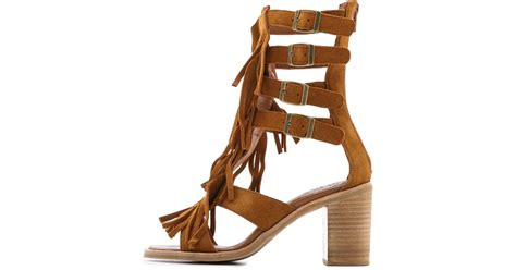 jeffrey cbell fringe sandals jeffrey cbell omaha fringe sandals in brown lyst