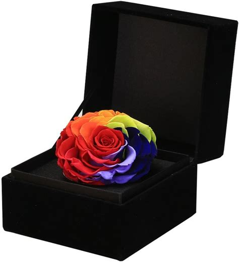 Box A Single Preserved Flower Represent Charm Perfection preserved fresh flower gift box rainbow