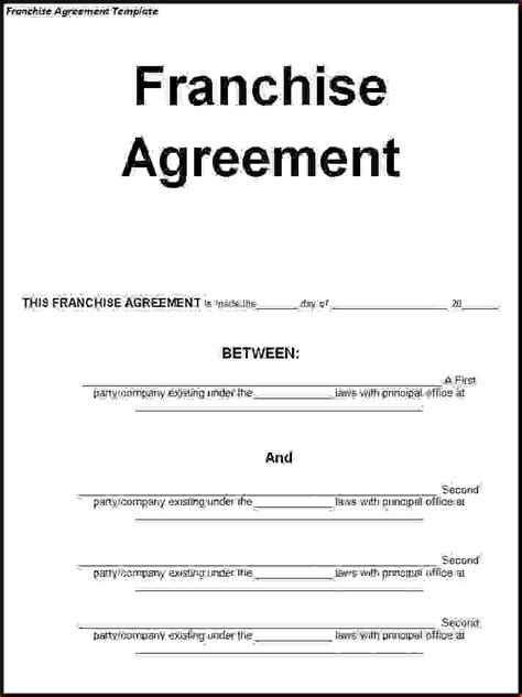 5  franchise agreement templateReport Template Document