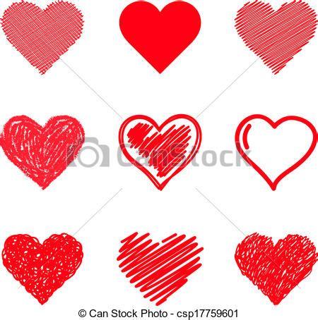 imagenes de corazones dibujados a mano vector clip art de corazones conjunto vector dibujado