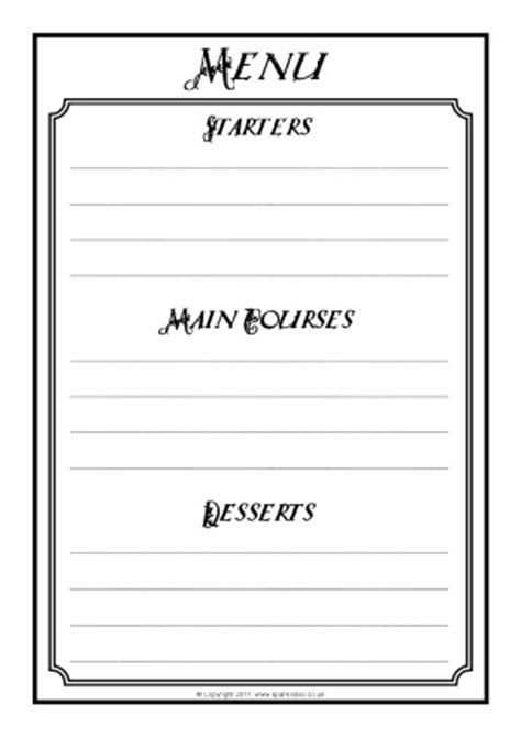 menu writing template food teaching resources and printables sparklebox