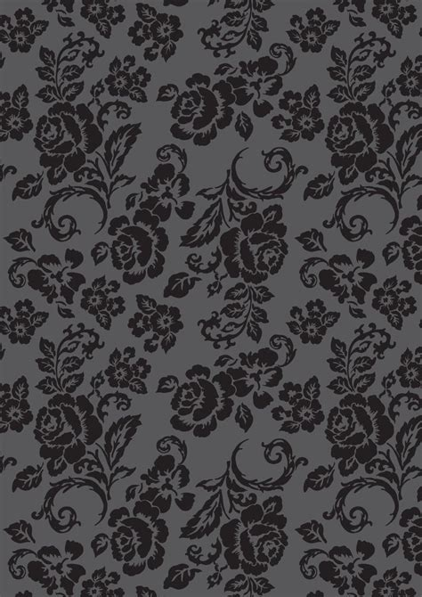 grey pattern paper black floral rose pattern on dark grey print for