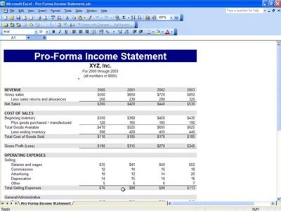 pro forma financial projections template proforma income statement income statement template