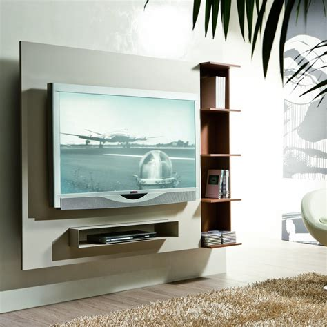 wall mounted tv unit designs furniture white wooden floating media cabinet with shelf hanging on grey painted wall as well