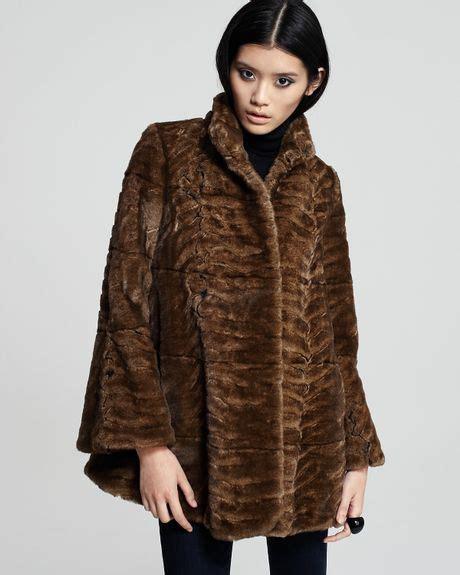 faux fur swing coats graham spencer plush faux fur swing coat in brown lyst