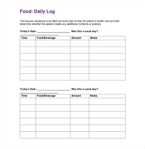 food log template food log template 29 free word excel pdf documents