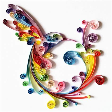 Amazon Wall Sticker quilled paper art colourful hummingbird