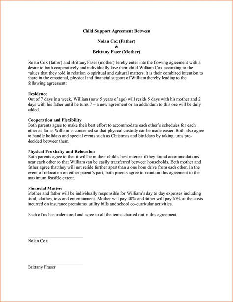 Child Support Letter Of Abatement 9 Sle Child Support Agreement Letter Template Purchase Agreement