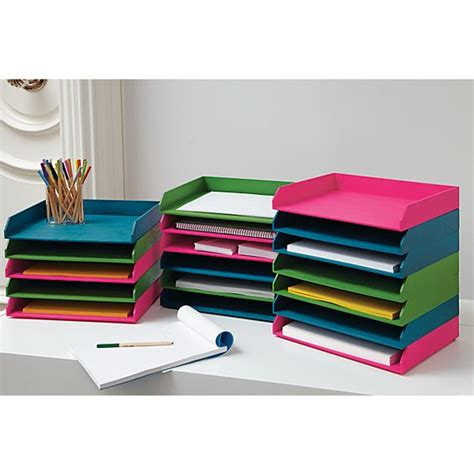 stackable desk trays stained letter trays stackable 3 colors www cb2