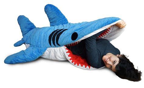 stuffed shark sleeping bag who knew jaws would be so to sleep in